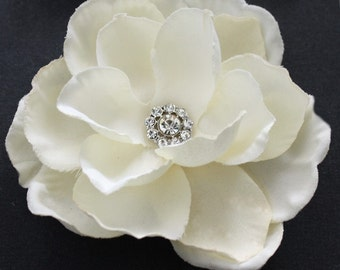 Ivory Gardenia Hair flower clip wedding headPiece rhinestone center hair comb