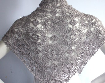 Triangular Shawl Wrap  Hand knit  Crochet Silver Grey Gray Luxurious Silk Cashmere  - ready to ship
