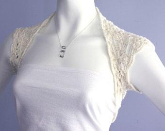 Bolero - Eco-friendly Shrug hand crochet Vegan Yarn bolero Bridal  Bridesmaid Ivory Size  M L