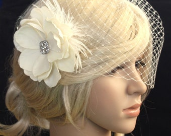 Birdcage veil  Blusher  and Bridal Fascinator Vintage inspired Russian netting veil hair flower feather - Emily