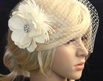 Vintage inspired Birdcage Veil and  Detachable Bridal Fascinator Blusher hair flower Wedding Reception -Emily