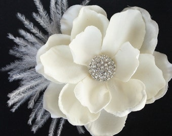 Hair flower feather clip comb wedding headPiece Fascinator - ivory cream Rhinestone Gardenia - Ethel