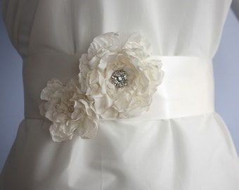 Diamond white Peony bridal Satin Sash - Angela S36