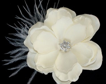 Ivory hair flower with feather clip or comb