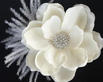 Bridal Fascinator Gardenia hair flower Wedding Ceremony Reception - Evelyn Headpiece