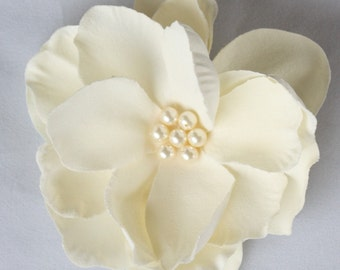 Gardenia Hair Comb wedding headPiece  Fascinator-ivory cream Swarovski Pearls Clip