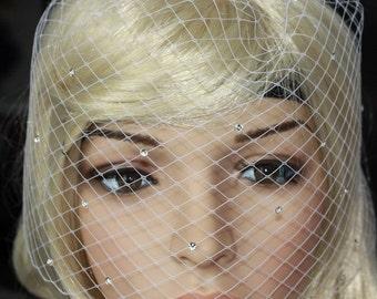 Bling-bling Birdcage Veil Russian netting White or Ivory With Swarovski Crystal Rhinestone Wedding Reception
