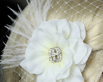 White Gardenia bridal Hair flower clip wedding headPiece Fascinator - creme cream Rhinestone hair comb - Sally, Made to order