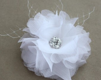Bridal Silk Hair Flower with Crystal Rhinestone in white or natural, wedding hair piece - Regina peony