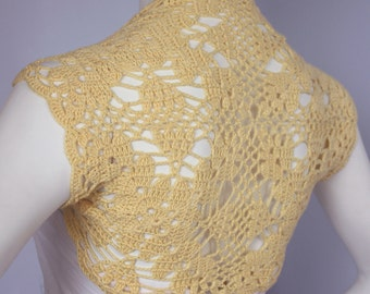 Yellow Luxurious wedding Bamboo Shrug handknit /crochet wedding bolero Jacket Size S, M L make to order
