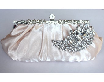 Bridal Clutch - champagne satin with Swarovski Crystal feather brooch-ON sale  30% OFF