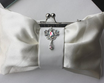 Bridal Clutch - Ivory satin with Swarovski Crystal brooch - Kacie