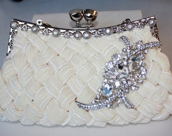 Ivory Bridal Clutch - satin with Swarovski Crystal brooch - made to order
