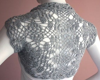 Bridal Shrug bolero Jacket bamboo silk yarn  grey gray size S M L