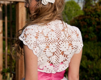 White Bamboo Bolero hand knit crochet Shrug -Bridal Wedding size S, M, L