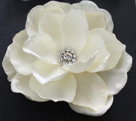 Ivory Flower Hair Clip Wedding: Ivory Gardenia Hair Flower Clip Wedding HeadPiece Rhinestone