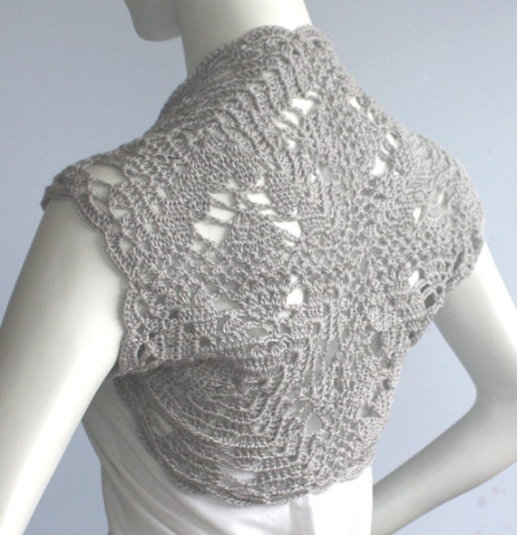 Gray Luxurious Bridal Silk / Cashmere Shrug handknit /crochet wedding bolero Jacket Size M L  - Ready to ship