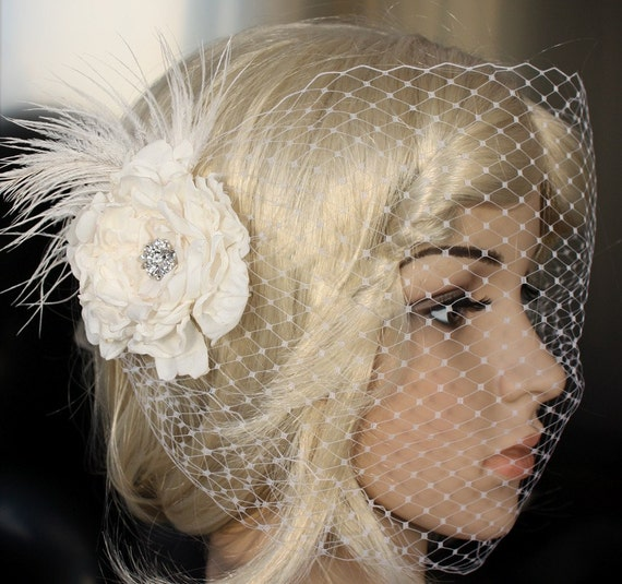 Bandeau Birdcage Wedding Veil and detachable Fascinator Vintage inspired Blusher hair flower in ivory or white