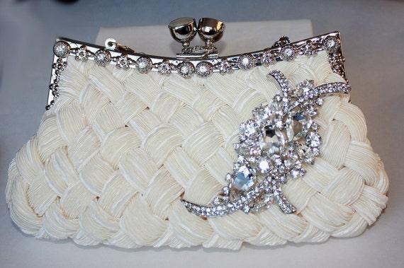 Ivory Bridal Clutch - satin with Swarovski Crystal brooch - made to order