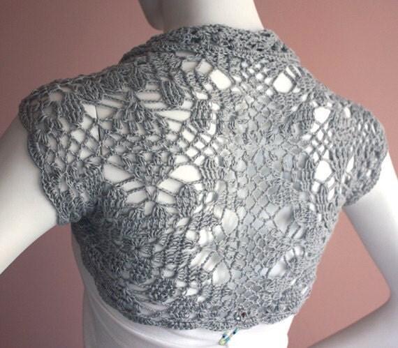 Bridal Shrug bolero Jacket bamboo silk yarn  grey gray size S M L