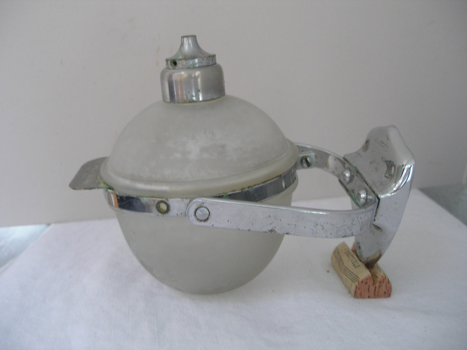 Vintage Soap Dispenser Glass And Nickel Plated