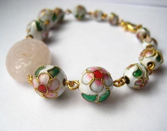 Cloisonne Bracelet with Carved Rose Quartz Good Luck Stone