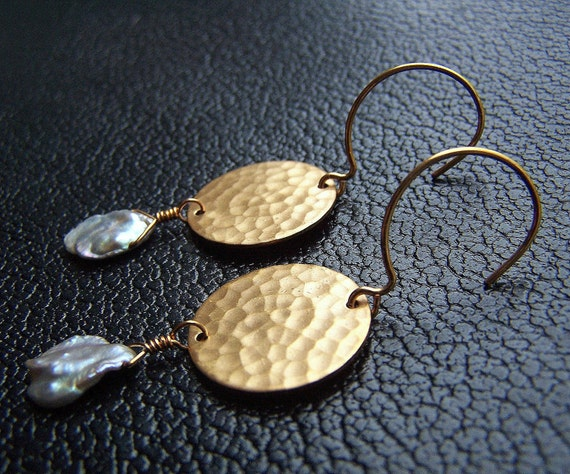 Metal and Pearl Dangle Earrings with Hammered Brass Discs and Lavender Keshi Pearls