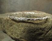 braided half round argentium sterling silver bangle bracelet