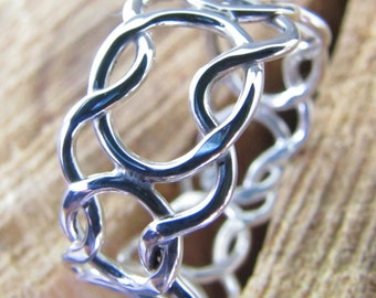 Wide woven argentium sterling silver ring