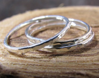 Skinny hammered silver stack rings set of 3
