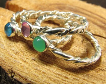 Argentium Sterling Stack Ring Set of 3 with Gemstones of Choice