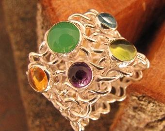 Multistone woven silver ring