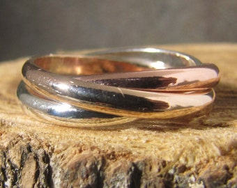 tri color rolling ring, 14k rose and yellow gold-filled, and argentium sterling
