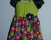 50% OFF SALE ....Girls Peasant Dress....Flowers and Dots, Ready to Ship Size 3/4