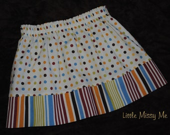 CLEARANCE.....Great Fall colors,Dots and Stripes, Girls Twirl Skirt , Size 6/7 Ready to Ship