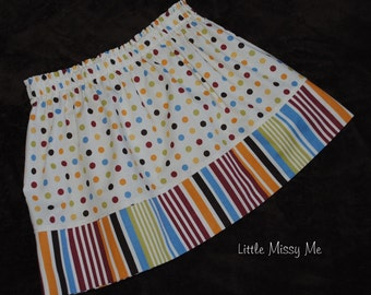 CLEARANCE....Size 5/6 Ready to Ship ...Girls Twirl Skirt, Dot and Stripes
