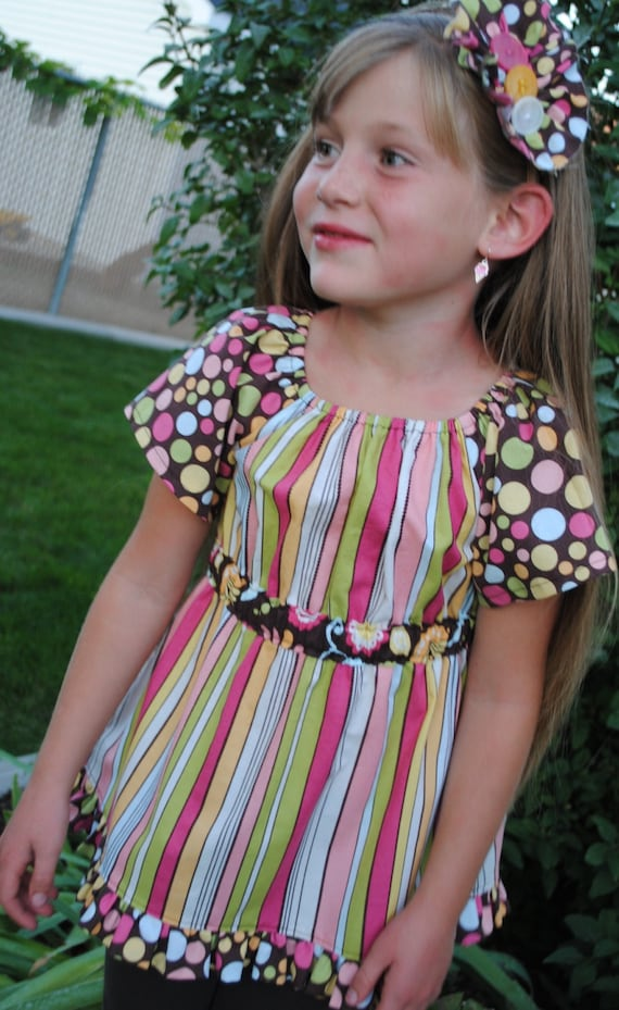 SALE Girls Peasant Top with Matching Hair Accessory, Size 5/6 Ready to Ship