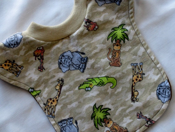 Baby and/or Toddler Regular Reversible Pull-Over Bib, Jungle Fever....READY TO SHIP