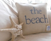 White Burlap the beach with shell embellished tag pillow cover