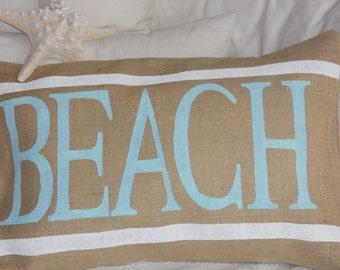 Natural Burlap BEACH Pillow Slip