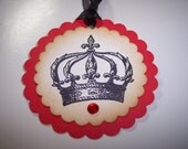 Crown Gift Tags With Red Bling set of 6