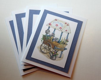 Flower Cart Greeting Card Set of 4