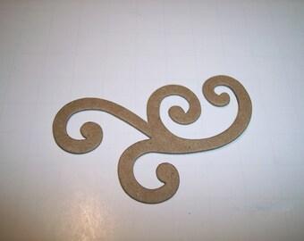 Chipboard Swirl Die Cut Set of 3