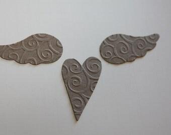 Wings and Hearts Embossed Die Cuts