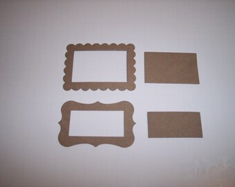 Scallop and Fancy Chipboard Frames Set of 4