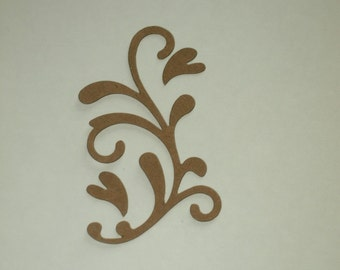 Chipboard Flourish With Hearts Set of 3