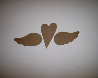 Wings and Heart Large Chipboard Set of 3