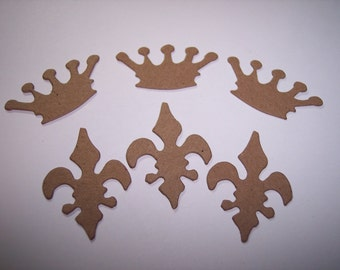 Mini Crown and Fleur de Lis Chipboard Die Cuts Set of 12