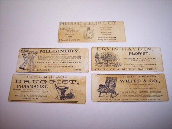 Advert Labels Hand Stamped  Set of 10