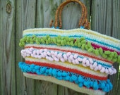 Reserved for Josie: OOAK Hand Knit Felted/Fulled Striped Pom Pom Handbag - Made to order